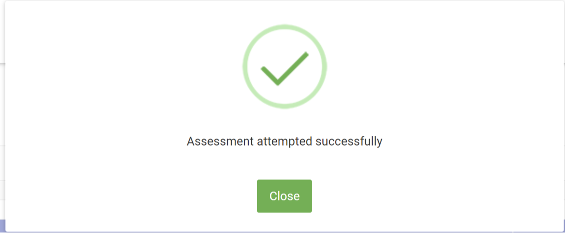 TheWEQ Assessment Successfully Submitted Pop Up