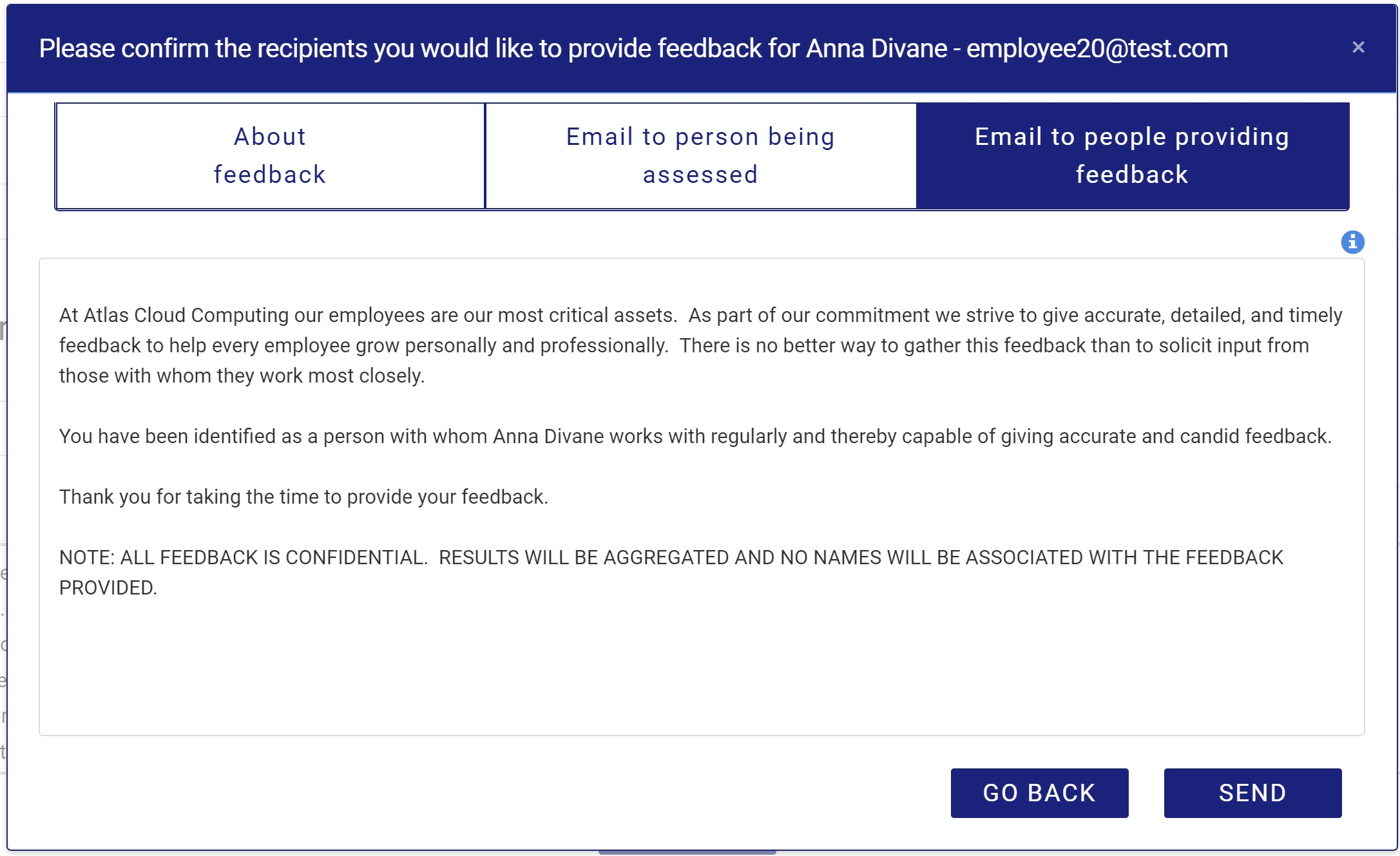 Review email to feedback providers