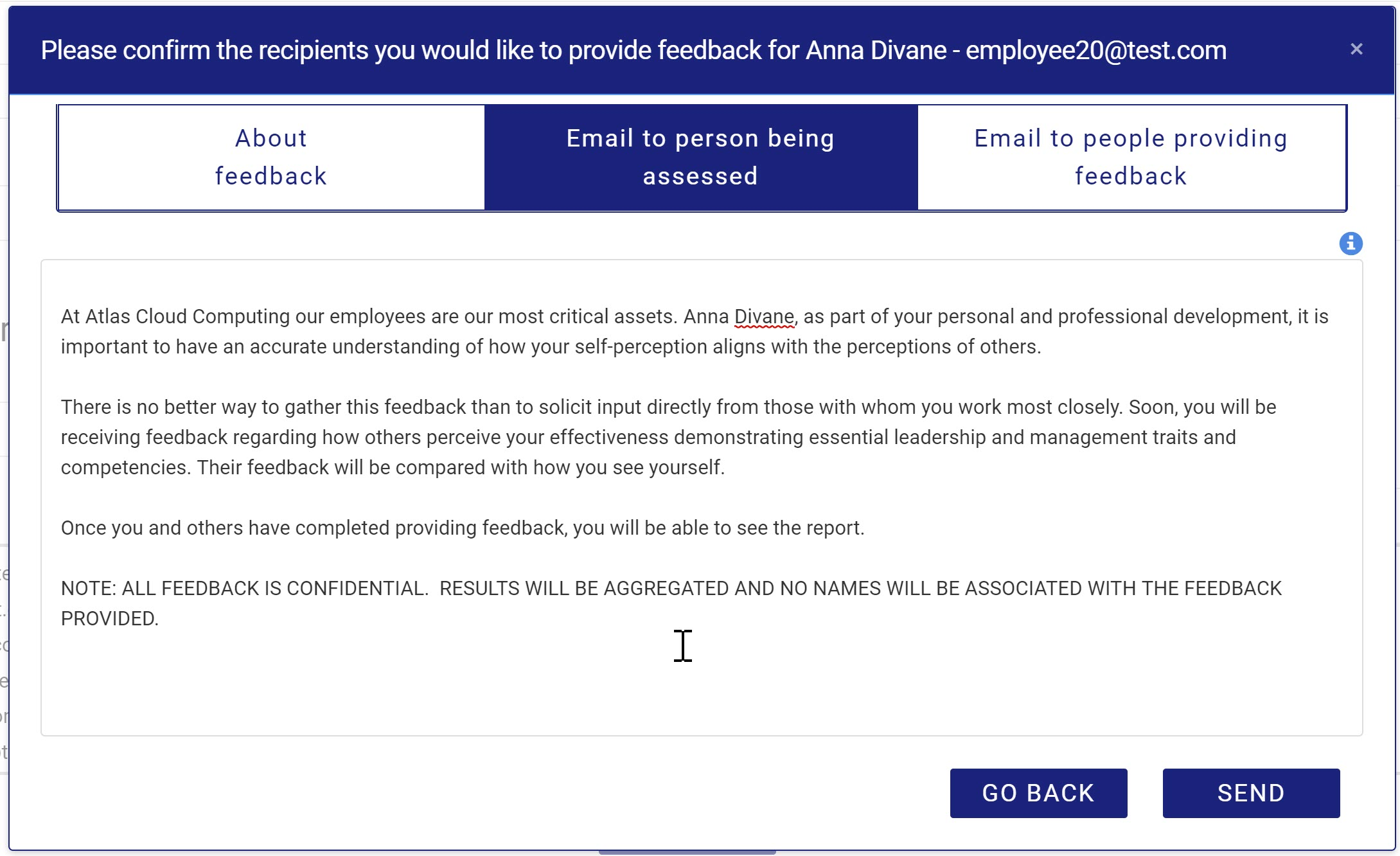 2020-07-05_Setting Up Feedback email to person being assessed