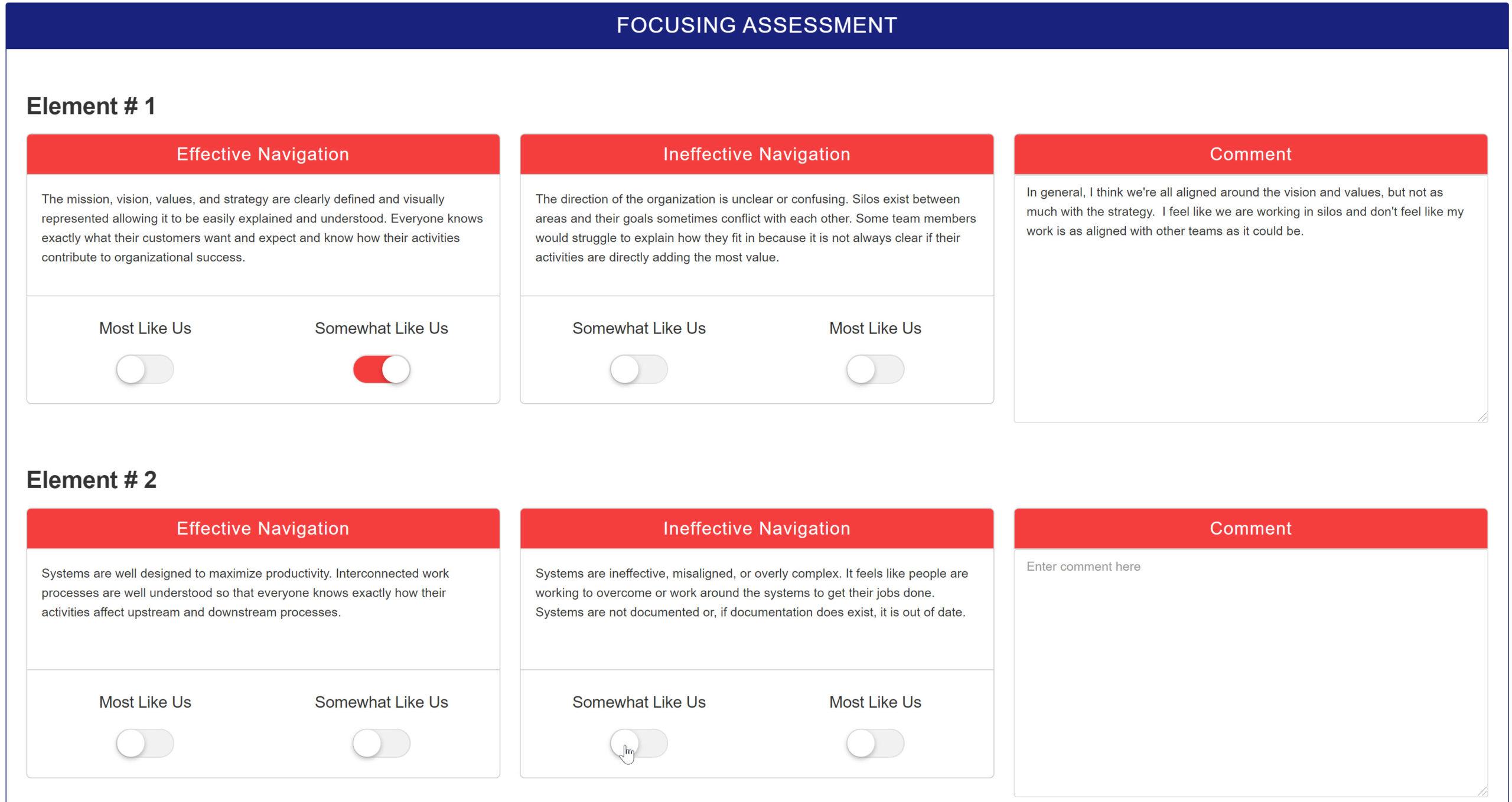 Screenshot of Assessment